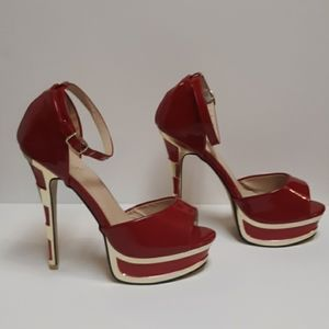S.Y.L.K RED AND GOLD HIGH HEEL PUMPS